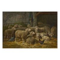 """""""Sheep Inside a Barn"""" Antique French Barbizon Oil Painting by Charles Ceramano"""