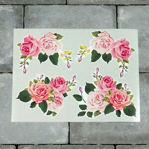 4 x Watercolour Roses Vinyl Stickers Decals Wall MacBook Laptop iPad - SKU6627