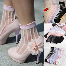 Striped Ultra Thin Transparent Crystal Lace Sock Elastic Short/Women/Ankle/Socks