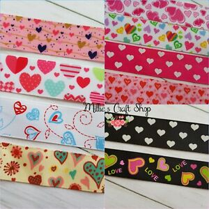 ❤  HEART LOVE VALENTINES GROSGRAIN RIBBON 123 MTR CHOICE BOWS CLIPS CRAFTS CAKES
