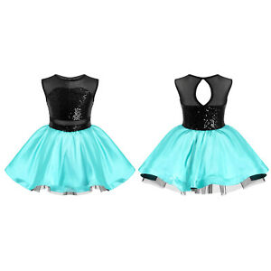Girls Sequins Ballet Dance Dress Glitter Tutu Skirted Leotard Skating Dancewear