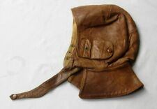 Antique Leather flying helmet hat with ear flaps WW2? Size 57