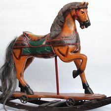 GROßES SCHAUKELPFERD ROCKING HORSE HOLZPFERD MIT SCHAUKEL KARUSSELL PFERD