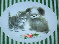 CHRISTMAS Greeting Card - CHRISTMAS ORIGINALS -Kitten & Puppy w/ Broken Ornament