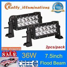 2PCS 7.5INCH CREE 36W LED WORK LIGHT BAR FLOOD OFF-ROAD LAMP Jeep 10-30V SUV RAL