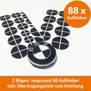 88 x BMW Emblem Aufkleber schwarz glänzend - Felgen Logo Tuning 1 2 3 4 5 6 M X