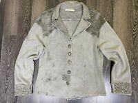 Elisa Cavaletti Gray Cardigan Long Sleeve Made in Italy Size XL Top Sweater