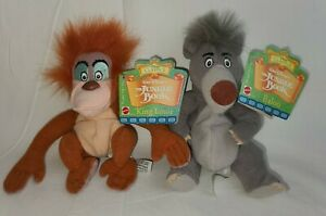 JUNGLE BOOK King Louie & Baloo PLUSH Walt Disney BEAN BAG Toys MATTEL NWT
