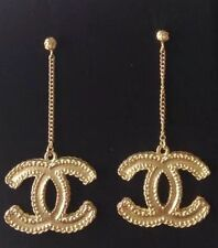 !!! 2016 CHANEL TOP XL GOLD CC DANGLE CHAIN DRESS EARRINGS NEW With Receipt!!!!