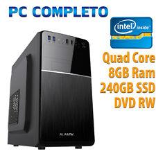 PC COMPUTER DESKTOP WINDOWS 10 ASSEMBLATO COMPLETO INTEL QUAD CORE 8GB SSD 240GB