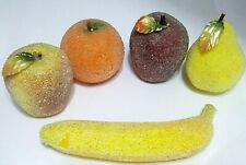 5 Life Sized Beaded Sugar Frosted Artificial Faux Fruit Apples Banana Etc