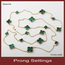 prong 16-motif simulated malachite lucky flower necklace in gold