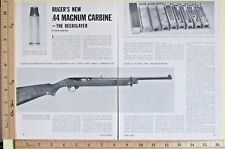 1961 New Ruger 44 Magnum Carbine DEERSLAYER rifle 4-Page Magazine Article 9856