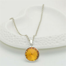 Women Jewelry Crystal Rhinestone topaz Square Charm Silver Pendant Necklace