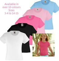 Fruit of the Loom Girls Short Sleeve Plain T shirts Kids Casual Summer Tops Tees