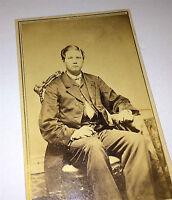 Antique Civil War Era American Dapper Man, Fashion Coat! Stamp! Old CDV Photo!