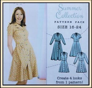 Modern 1940's INSPIRED SEMI-FITTED SHIRT DRESS Sewing Pattern SIZE 16-24 UNCUT