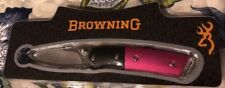 New Browning Women's Pocket Knife, Pink with Browning Logo Clip