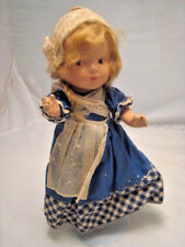 """Vintage Doll in Blue and White 14"""" Tall Doll (stand included) Needs a Home!"""