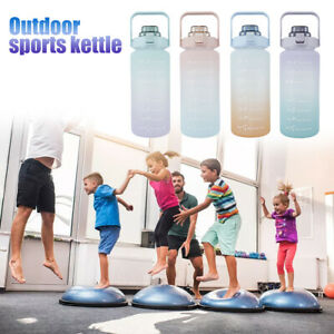 2L Sports Water Bottle Large capacity Straw Time Gradient Water Cup Fitness Jugs
