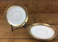 Limoges Bernardaud D&C Delinieres Saucer Set of 3 Ornate Gold Trim