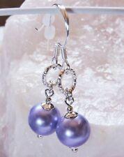 Perlen LILA violett Muschelkernperlen Silber 925 Ohrringe Ohrhänger Fischhaken