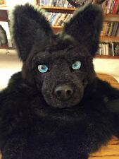 Black Faux Fur Resin Homemade Fursuit Wolf Head