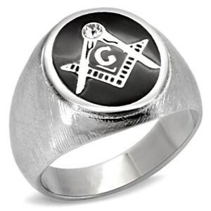 Men's 316 Stainless Steel Mason Masonic Emblem Freemason Crystal Accent Ring