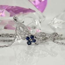 Echte Edelstein-Halsketten & -Anhänger im Collier-Stil mit Saphir für Damen