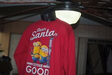 "Hanes Cotton Polyester Red Minions Size L, M Sweatshirt ""Dear Santa, Define Good"