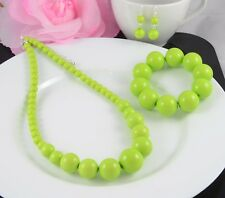 LIME GREEN GRADUATED BEAD NECKLACE EARRINGS  AND BRACELET SET