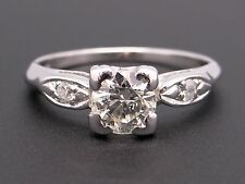 Platinum .70ct Round Cut Diamond Engagement Promise Ring Size 6