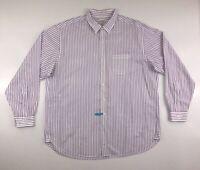 Brooks Brothers Dress Shirt Men's XL Long Sleeve Purple Stripe Button Down