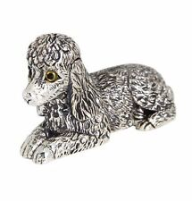 COLLECTABLE VICTORIAN STYLE POODLE DOG FIGURINE GLASS EYES 925 STERLING SILVER