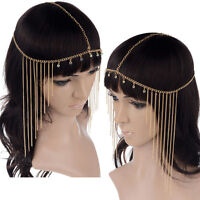 New Rhinestone Tassel Forehead Hair Head Side Wave Chain Headband Headpiece Band