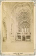 France Bourg-en-Bresse Monastère royal de Brou La nef Vintage print Tirage alb