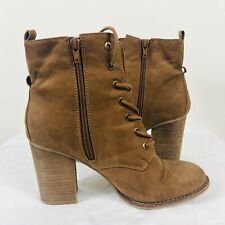 Aldo Size 9 Brown Faux Suede Ankle Boots Booties Lace Up Block Heel