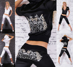 Women's Full Tracksuit Hoodies Pants Embroidered Satin Set Tracksuit Jogging