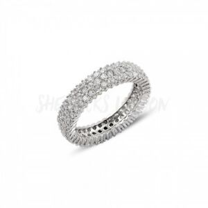 RHODIUM PLATED 925 SILVER - 3 ROW 1mm MICRO PAVE CUBIC ZIRCONIA ETERNITY RING