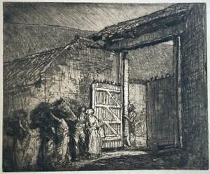 FRANK BRANGWYN (1867-1956) Etching GATE OF THE FARM MONTREUIL FRANCE