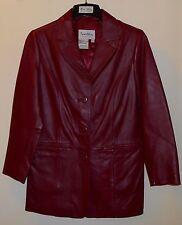 "Pamela McCoy Deep Red Leather Driving Coat XS 3 Button 30"" Length Beautiful EUC"