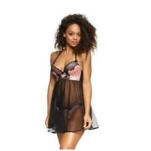 Ann Summers Avah Sexy Nude & Black Babydoll Nightie Nightdress RRP £45