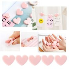 5Pcs Heart Shape Pink File Binder Clip Notes Letter Paper School Office Supplies
