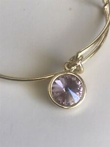 Alex and Ani  Gold Bracelet ~ OCTOBER PINK Round Stone Charm Birth Stone Expands