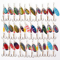 30Pcs Metal Mixed Spinner Fishing Lure Pike-Salmon Baits Bass Trout Fish Hook
