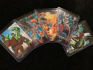 1992 MARVEL MASTERPIECES DYNA-ETCH FOIL BATTLE SPECTRA 5 CARD INSERT CHASE SET!