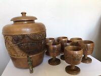 Rare VTG Tiki Luau Wooden Dispenser W Brass Spigot Carved Wooden Goblet Barware