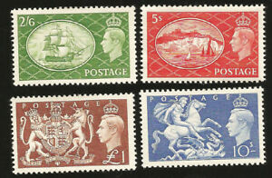 1951 GREAT BRITAIN HI VAL TO ONE POUND MOST MINT NEVER HINGED SC 286-9 SG 509-12