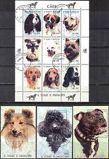 Sao Tome & Principe 1995 Cats Dogs 18+6S/S Used Mi:1571/88 Bl.332/7 100Eur 2sc.