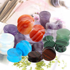 PAIR Organic Stone Ear Gauges Tunnel Flesh Plug Saddle Double Flare Stretcher